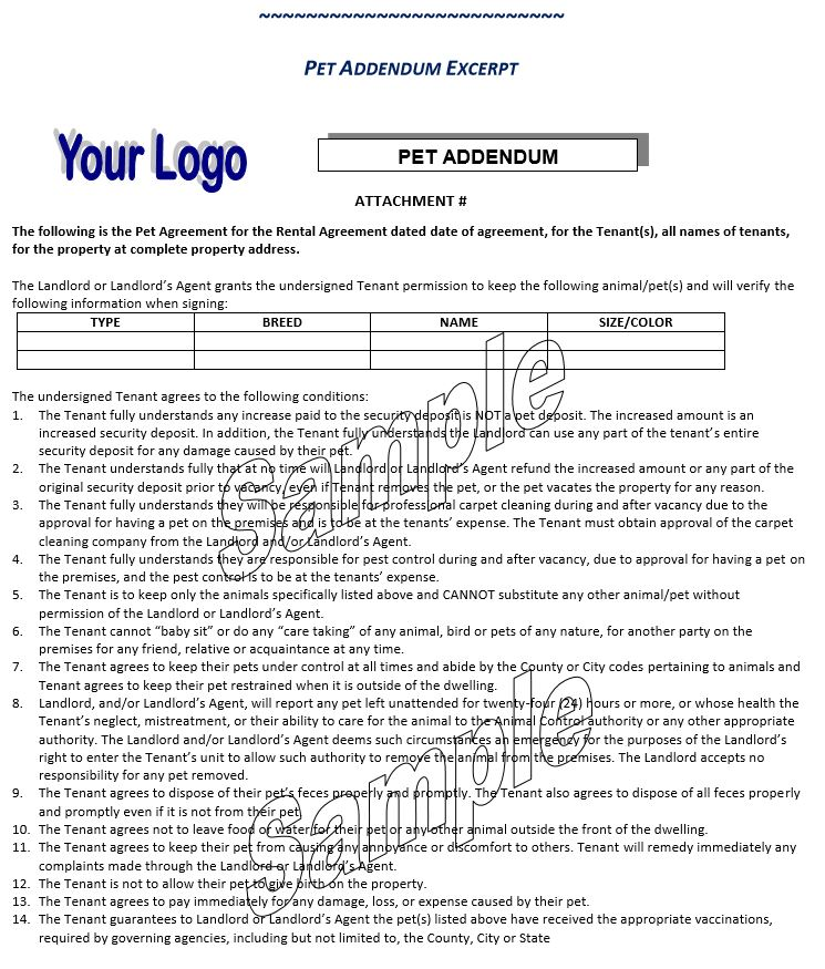 Pet Agreement for the Rental Agreement