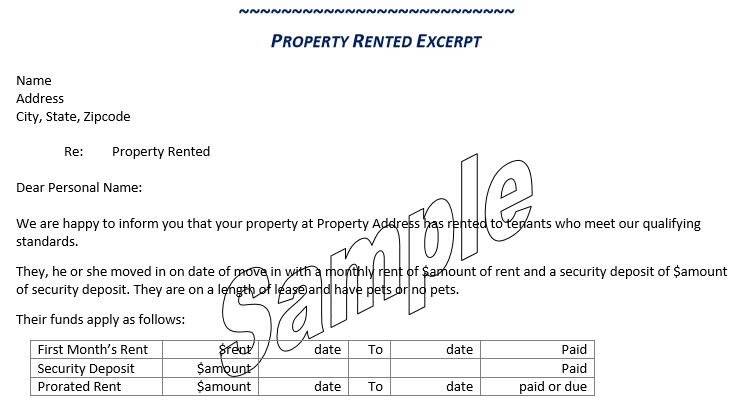 Property Rented